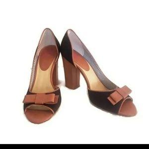 BP size 8.5 black and tan block peep toe heels